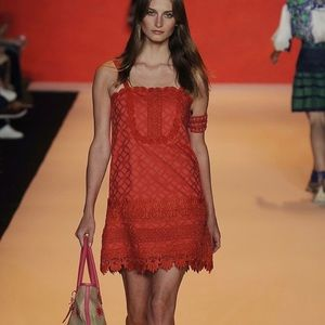 Anna Sui Runway Collection Red Shift Dress